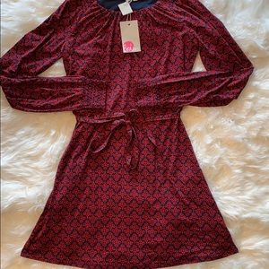 Rare Boden red and blue print dress NWT